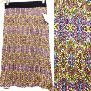 LuLaRoe Jill Pleated Pattern Midi Skirt Size Small